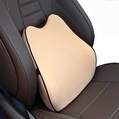 Garispace Almohada de apoyo lumbar de espuma viscoelástica, cojín de respaldo lumbar, cojín de cintura para coche, cojín para proteger la espalda del coche, cojín lumbar para el interior, color beige