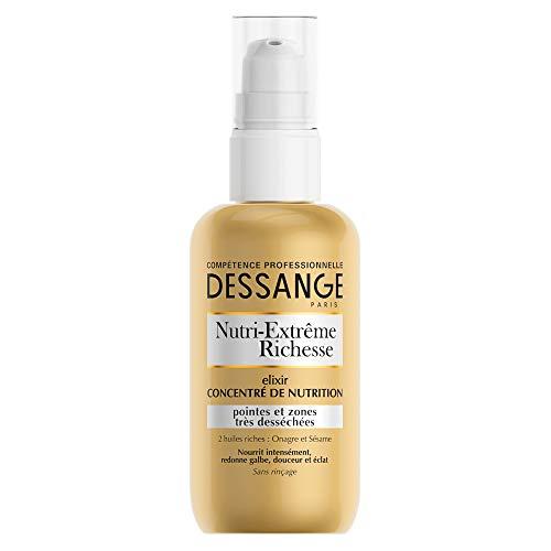 Dessange Elixir Concentré de Nutrition - Soin Sans Rinçage - Cheveux et Pointes Desséchés - Nutri-Extrême Richesse - 100 ml
