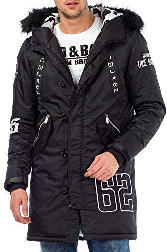 Cipo & Baxx Herren Parka Winterjacke Kapuzenjacke Mantel Jacke mit Markendetails Gr.XL Schwarz