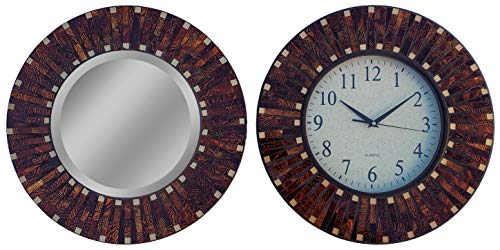 LuLu Decor, Amber Rays Mosaic Wall Clock with 9.5' Glass Dial, Silent Movement for Living Room &...