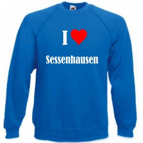 Sudadera con texto 'I Love Sessenhausen' para mujer, hombre y niños en los colores negro, blanco y azul con estampado azul M