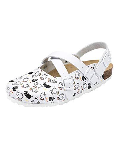 CLINIC DRESS Clog - Clogs Damen weiß bunt Motiv. Schuhe für Krankenschwestern, Ärzte oder Pflegekräfte weiß/schwarz, Schäfchen 38