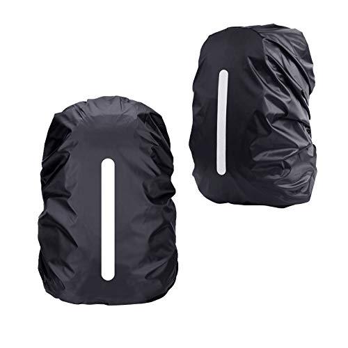 KATOOM 2er Regenhülle Rucksack Schulranzen Regenschutz wasserdichte Regenüberzug Ranzen Rucksackschutz für Outdoor Camping Wandern mit Reflektorstreifen Sicherheitshülle (schwatz+schwatz 30L-35L)