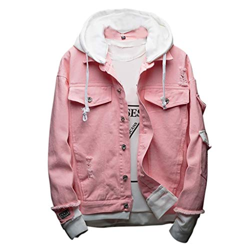 Beautyfine Men's Hoodie Jean Jacket Coat Fashion Cowboy Jacket Casual Comfortable Pink