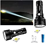 30000-100000 Lumens 3 Modes High Brightness Led Waterproof Flashlight,For Hiking Camping Outdoor Sports And Emergency Lighting (50W-P70, Doppelte Lithiumbatterie)
