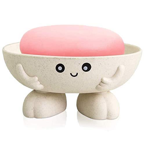 Yrzper Seifenhalter niedliche Seifenschale für Kinder Kinder kreative schöne Bar Seifentablett Zähler für Dusche Badezimmer Küchenarbeitsplatte (Beige)
