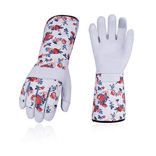 Vgo 2 Paare Rosagarten- und Arbeitshandschuhe, mit Langen Armen und soften Ziegenlederpalmen, für Rosa oder Kaktusgartebarbeit, Weibliche Handschuhe (8/M, Weiß, GA9658)