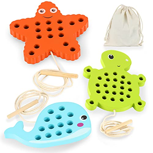 Lacing Toy for Toddlers: 3 Sea Wooden Threading Toy, 1 Starfish, 1 Turtle and 1 Whale with Cotton Bag, Educational and Learning Montessori Activity for Baby and Kids, Car and Plane Puzzle Travel Games