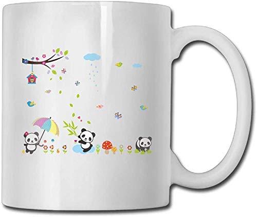 11 oz Koffie Mok, Thee Mok, Cartoon Panda Vlinder Melissa Vogel Koffie Mok Mannen Kerstmis Geschenken Thee Cup, Het perfecte cadeau voor familie en vrienden, Leuke Witte Koffie Cup