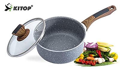 Non-stick Saucepan With Visual Lid, KITOP Stone Coating Milk Pan 2 Quart, Bakelite Handle PFOA-Free Saucier Soup Pot Suitable For All Stove
