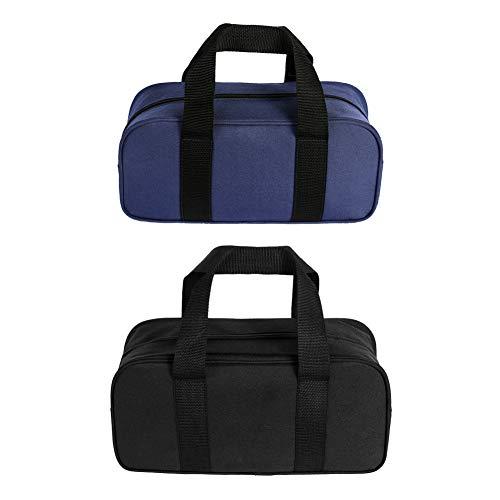 Bolsas de herramientas 2 piezas organizador de bolsas de herramientas de boca abierta ancha (A, negro y azul)