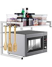 i BKGOOエキスパンドメタル電子レンジオーブンラックシェルフキッチン用品テーブルウェアストレージカーボンステンレスカウンター炊飯器スタンドには、2つの層と3つのフッ