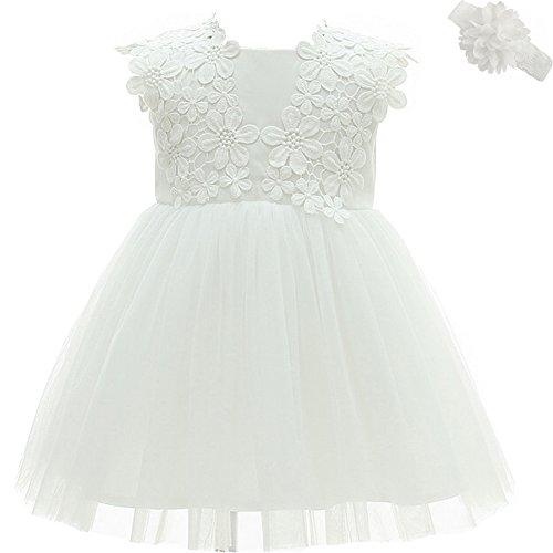 AHAHA Baby Mädchen Prinzessin Kleid Blumenmädchenkleid Taufkleid Festlich Kleid Hochzeit Partykleid Festzug Babybekleidung Weiß - 3M/3-6Monat