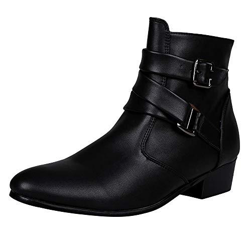LOVELYOU ❤️Ankle Pointé Boots Chelsea Hommes Tube Court Talon Bas Bottes Faux Cuir Travail Moto Fond Plat Simples Boots Vintage Zipper Boucle Bottines