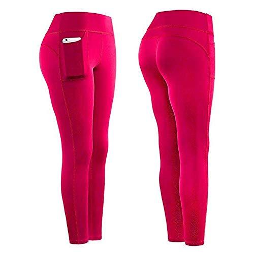 B/H Super weiche Yoga Pilates Hosen,Frauen Fitness Jogginghose Leggins,Nahtlose Skinny Jogger Hose-Red_L,Lange Blickdicht Yoga Hose Sporthose