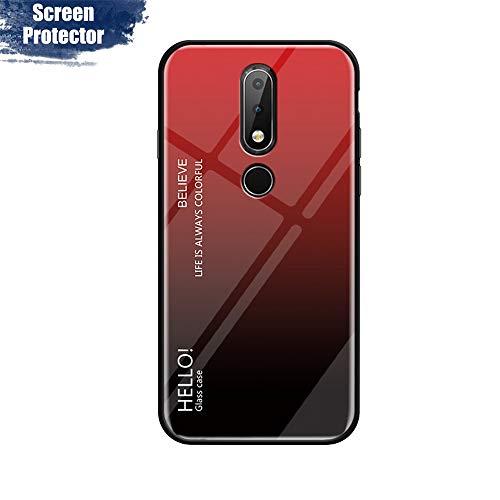 MadBee Cover per Nokia 7.1 [con Pellicola Proteggi Schermo],Custodia Protettiva in Vetro Temperato 9H [Motivo in Marmo] + Cornice Paraurti in Silicone Morbido Cover Case (Rosso)