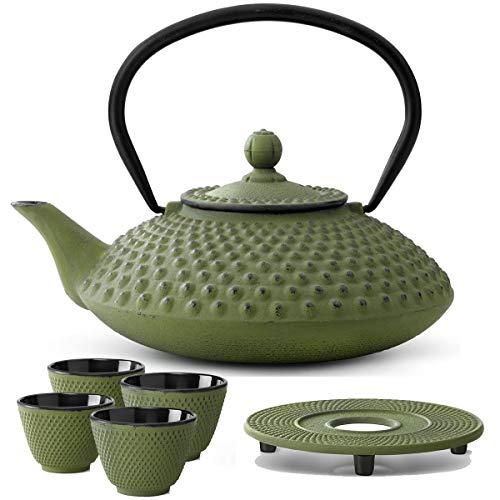 Bredemeijer Teekanne asiatisch Gusseisen Set grün 1.25 Liter mit Tee-Filter-Sieb mit Untersetzer und Teebecher (4 Tassen)