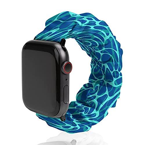 Banda de reloj acuático azul de piscina banda de poliéster deportiva para Apple Watch, adecuada para mujeres y parejas, bandas elásticas compatibles con SE 6, 5, 4, 3, 2, 1, 38mm/40mm,