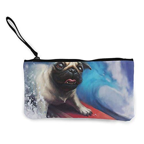 XCNGG Monederos Bolsa de Almacenamiento Shell Pug Dog Surfing Summer Canvas Coin Purse with Zipper Coin Wallet Multi-Function Small Purse Cosmetic Bags For Women Men