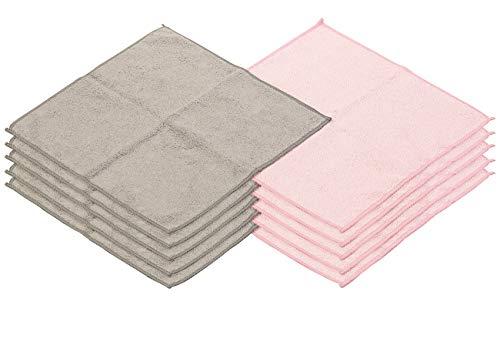 Sichler Beauty Abschminktücher: 10 Mikrofaser-Kosmetiktücher zur Gesichtspflege, rosa/grau, 30 x 30 cm (Microfaser Kosmetiktücher)