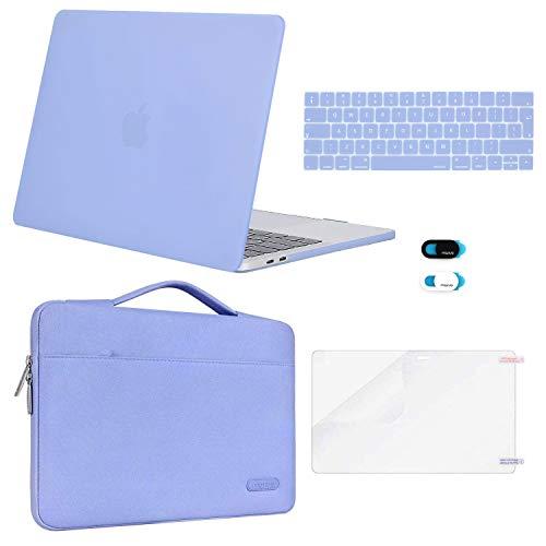 MOSISO plastic harde case & sleeve tas & toetsenbordbescherming & Webcam Cover & displaybescherming compatibel met MacBook Pro 13 inch blauw (Serenity)