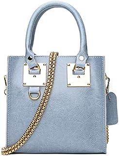YKDY Shoulder Bag Leisure Fashion Oil Wax Cowhide Leather Shoulder Messenger Bag Handbag (Black) (Color : Blue)