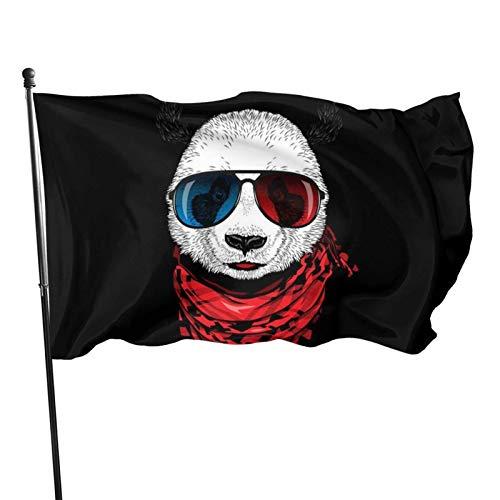 LAKILAN Panda con Gafas De Sol Y Bufanda Decorativo Al Aire Libre,Bandera Brisa,Garden Decoration Flag,150X90Cm Banner,Banderas De Vacaciones,Banderas De Jardín