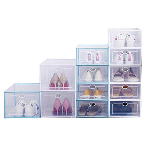 AOTENG STAR Storage Shoes Box Home Clear Plastic Shoe Storage Box Organizer Clamshell Shoe Boxes Stackable Shoe Container(2, Small)