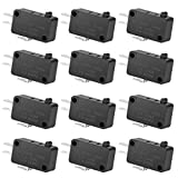 12PAack 125V/250V 16A SPDT Snap Action Button Micro Limit Switch for Microwave Oven Door Arcade KW3 by MUZHI