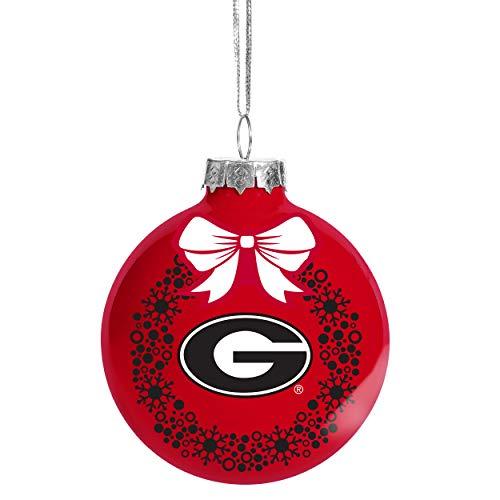 FOCO NCAA Wreath Glass Ball Christmas Tree Ornament-2 5/8'-Georgia Bulldogs