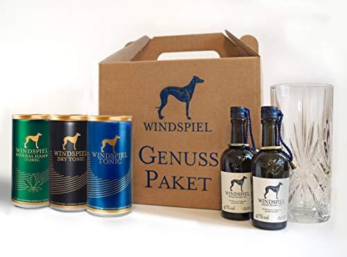 Windspiel Gin & Tonic Tasting Geschenkset - Premium Gin Tonic Verkostung mit drei verschiedenen Tonics mit High-Ball-Glas für den perfekten Genuss