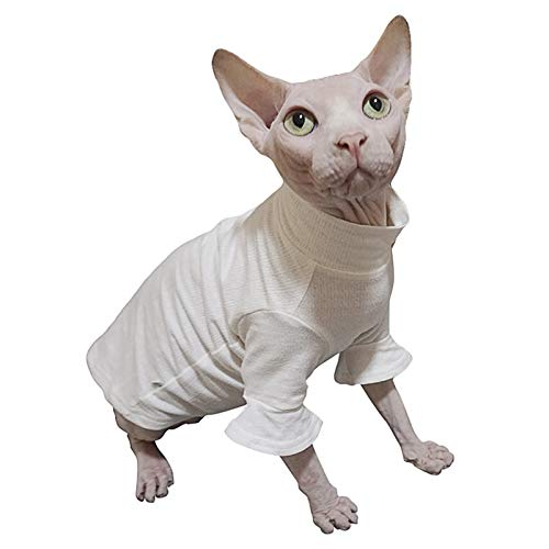 Ropa para gatos sin pelo Ropa para Sphynx,Algodón transpirable de verano para la ropa de mascotas, Gato sin pelo Listo para usar Camiseta Básica Casual Cornish Rex, Devon Rex, Peterbald (XXL)