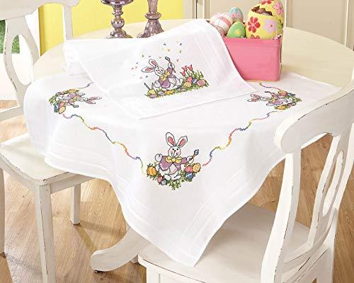 Kamaca Stickpackung Tischdecke Easter Kreuzstich vorgezeichnet aus Baumwolle komplettes Stickset mit Stickvorlage Ostern (Mitteldecke 80x80 cm)