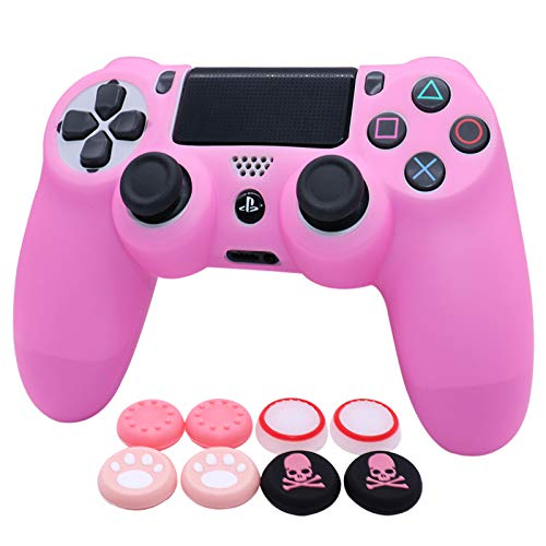 Pink PS4 Controller Skins RALAN,Silicone Controller Cover Skin Protector Compatible /PS4 Slim/PS4 Pro Controller (Pink Pro Thumb Grip x 6 ,Skull Cap Grip x 2)(Pink)
