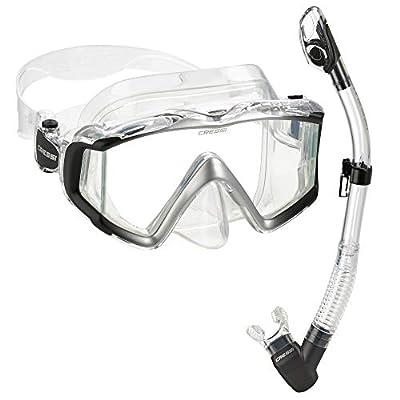 Cressi Italian Designed Liberty Triside Panoramic View Tempered Glass Lens Premium Scuba Snorkeling Mask Dry Snorkel Set