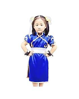 Miccostumes Girl s Chun Li Cosplay Costume Medium Blue and White