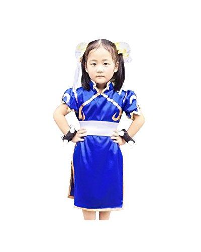 miccostumes Girl's Chun Li Cosplay Costume Small Blue and White