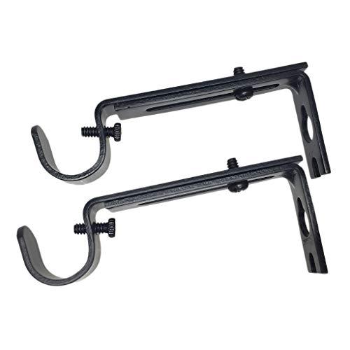 Homyl 1 Paar Schwarz Wandträger Wandhalter Halterung für Gardinenstangen, schwarz - Schwarz