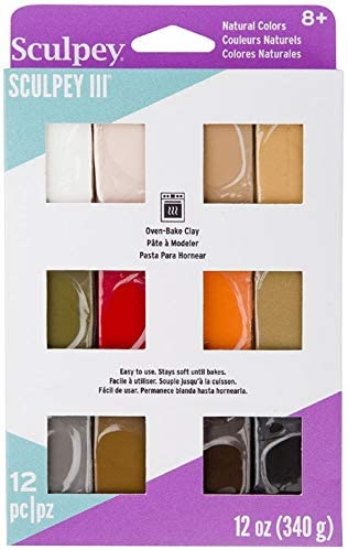 Sculpey III 12 Natural Colors of Polymer Oven-Bake Clay, Non Toxic 12 oz., great for modeling, sculpting, holiday, DIY & school projects. Perfect for all skill levels Kids, beginners and artists!