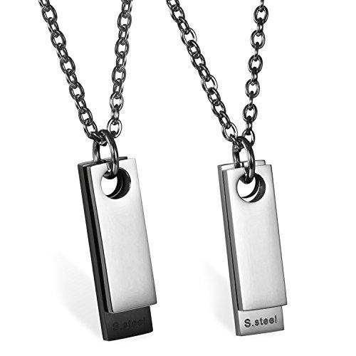 JewelryWe Schmuck 2pcs Herren Halskette, Edelstahl Klassische 2 Poliert Dog Tag Anhänger mit 55cm Kette, Silber Schwarz