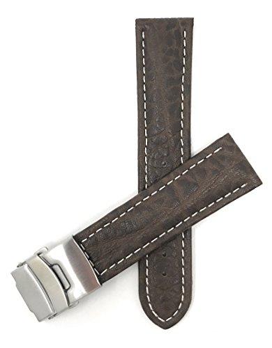 20mm Correa reloj de cuero auténtico, Marrón, con costura blancoa, también disponible en negro et marrón rojizo foncé