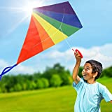 Diamond Kite for Kids and Adults, Rainbow Kite Large 47' for Outdoor Games, Beach and Backyard Activities, Easy to Fly Single Line Kites for Girls and Boys in Nylon Fabric, Rods, Spool, and Line