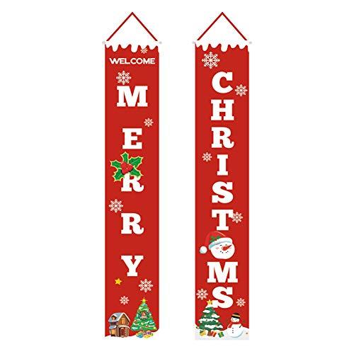INFILM 2 stks Vrolijk Kerstmis Banner voor Outdoor Binnen, Vrolijke Heldere veranda Open haard muur tekenen Vlag Rood Kerstmis Decor Deur Banner