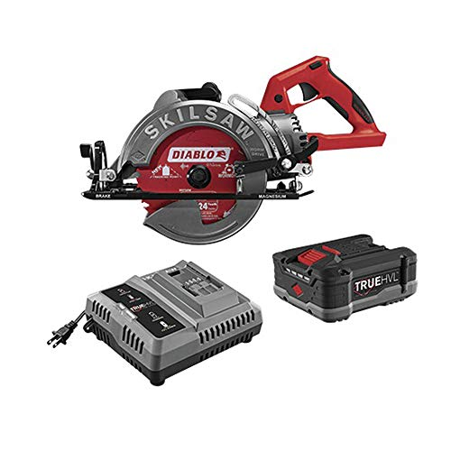 SKILSAW SPTH77M-12 TRUEHVL Worm Drive Lithium-Ion 7-1/4 in. Cordless Saw Kit with 24-Tooth Diablo Carbide Blade (5 Ah)