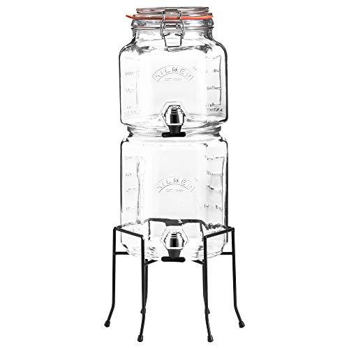 Kilner 25.004 - Juego de tarros apilables con grifos y Soporte, Transparente (5,2 L)