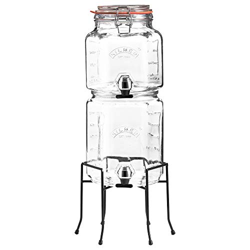 Kilner - Juego de tarros apilables con grifos y soporte, transparente, 5,2 litros