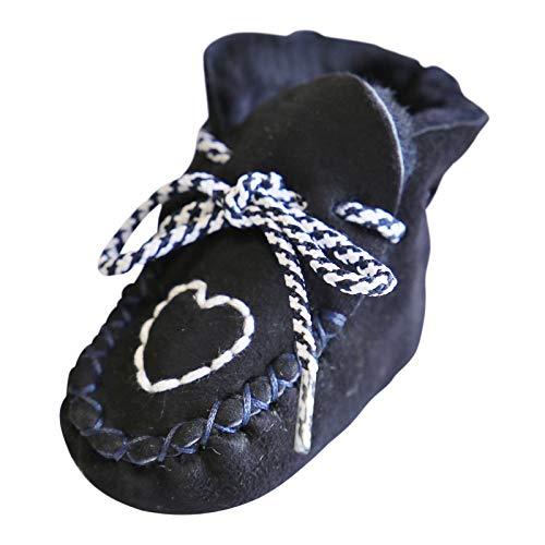 Hollert German Leather Fashion Baby Lammfellschuhe - Herzchen Neugeborene Merino Fellschuhe Krabbelschuhe Größe EUR 22/23, Farbe Blau