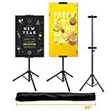 GOGODUCKS Adjustable Poster Stand Up to 73 inches Height, Reinforecd Metal Heavy Duty Black Banner Holder, Double-Sided Tripod Sign(Photo, Artist, Foam) Display, for Wedding, Home, Party, Garden