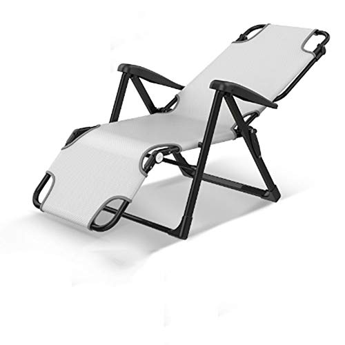 LILIJIA Lazy Portable Household Foldable Recliner,Office Simple Folding Single Break Nap Bed Lounge Chair,Double Adjustment Support Ten Gears,can Bear 200kg,White