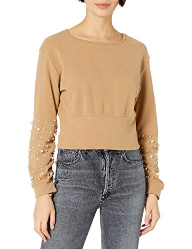 KENDALL + KYLIE Women's Pearl Embellished Sweatshirt With Back Cut-out - Amazon Exclusive